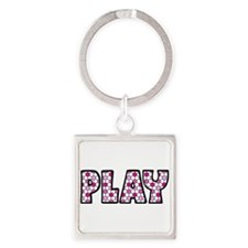 PLAY, SOCCER Square Keychain