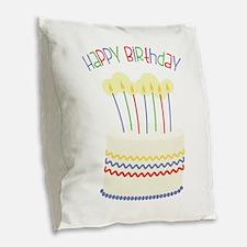 Happy Birthday Burlap Throw Pillow