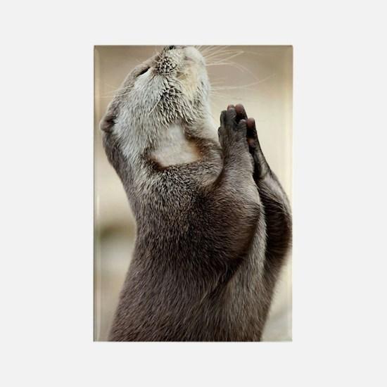 Otter Praying Rectangle Magnet