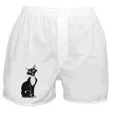 Green Eyed Creepy Cat Boxer Shorts