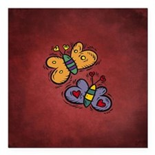 "BUTTERFLIES Square Car Magnet 3"" x 3"""