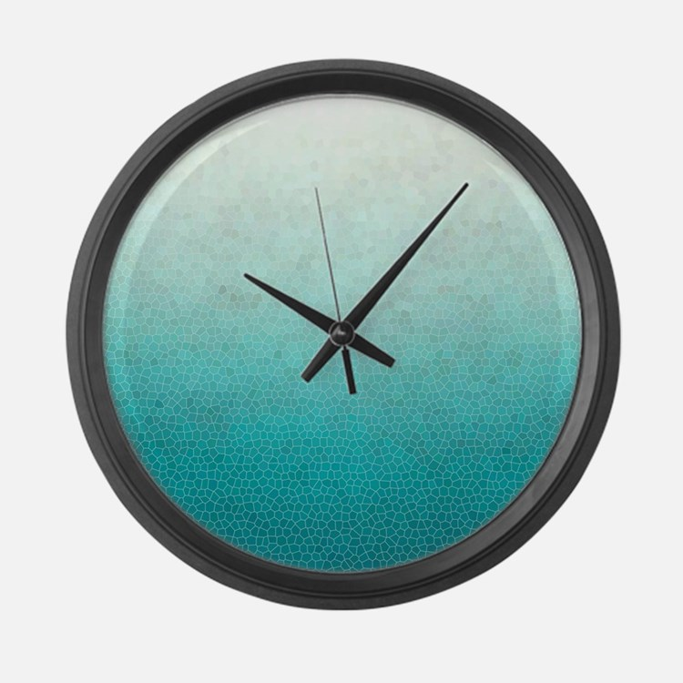 Ombre Teal Large Wall Clock
