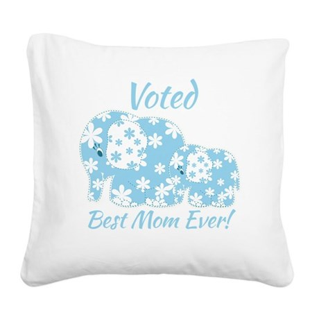 Best Mom Ever Cute Blue Elep Square Canvas Pillow