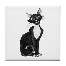 Green Eyed Creepy Cat Tile Coaster