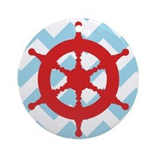 RED BLACK NAVY PINK STRIPES 2 Round Ornament