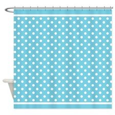 Turquoise White Polka Dot Pattern Shower Curtain