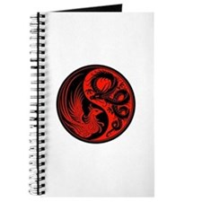 Red And Black Dragon Phoenix Yin Yang Journal