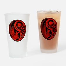 Red and Black Dragon Phoenix Yin Yang Drinking Gla
