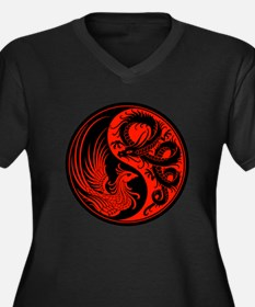 Red and Black Dragon Phoenix Yin Yang Plus Size T-