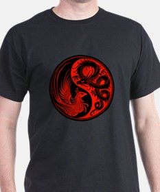 Red and Black Dragon Phoenix Yin Yang T-Shirt
