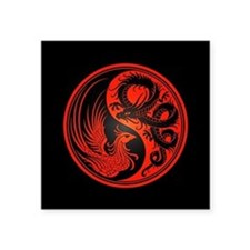 Dragon Phoenix Yin Yang Red and Black Sticker