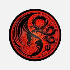 "Dragon Phoenix Yin Yang Red and Black 3.5"" Button"