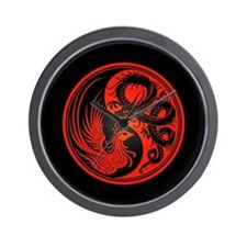 Dragon Phoenix Yin Yang Red and Black Wall Clock