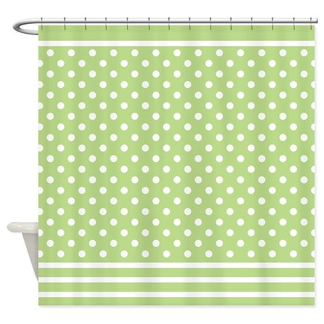 Spring Green Polka Dot Pattern Shower Curtain By Mainstreethomewares