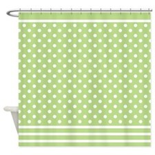 Spring Green Polka Dot Pattern Shower Curtain