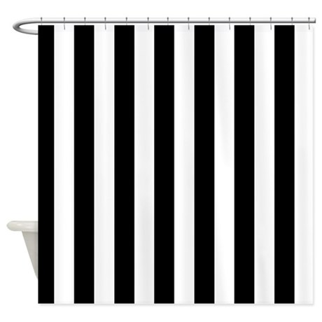 Black and white stripe shower curtain by curtainsforshowers Black and white striped curtains