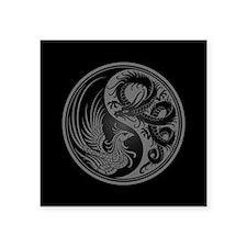 Dragon Phoenix Yin Yang Gray and Black Sticker