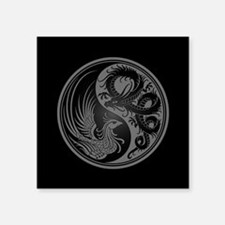 Dragon Phoenix Yin Yang Gray and Black Sticker