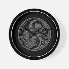 Dragon Phoenix Yin Yang Gray and Black Wall Clock