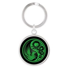 Dragon Phoenix Yin Yang Green and Black Keychains