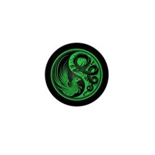 Dragon Phoenix Yin Yang Green and Black Mini Butto