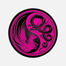 "Dragon Phoenix Yin Yang Pink and Black 3.5"" Button"