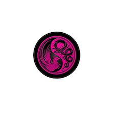 Dragon Phoenix Yin Yang Pink and Black Mini Button