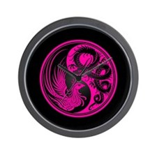 Dragon Phoenix Yin Yang Pink and Black Wall Clock