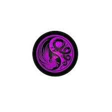 Dragon Phoenix Yin Yang Purple and Black Mini Butt