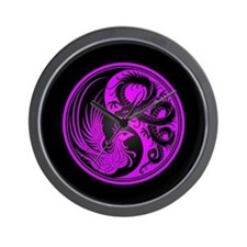 Dragon Phoenix Yin Yang Purple and Black Wall Cloc