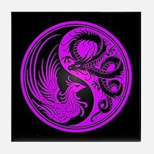 Dragon Phoenix Yin Yang Purple and Black Tile Coas