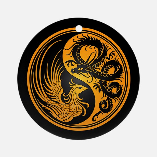 Dragon Phoenix Yin Yang Yellow and Black Ornament