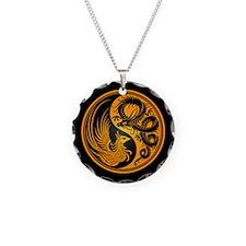 Dragon Phoenix Yin Yang Yellow and Black Necklace