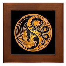 Dragon Phoenix Yin Yang Yellow and Black Framed Ti