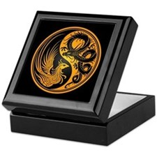 Dragon Phoenix Yin Yang Yellow and Black Keepsake