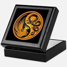 Dragon Phoenix Yin Yang Yellow and Black Keepsake