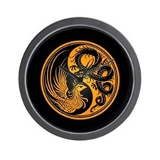 Dragon Phoenix Yin Yang Yellow and Black Wall Cloc