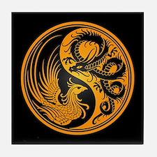 Dragon Phoenix Yin Yang Yellow and Black Tile Coas