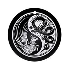 Dragon Phoenix Yin Yang White and Black Ornament (