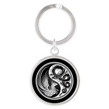 Dragon Phoenix Yin Yang White and Black Keychains