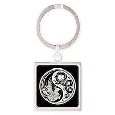 Dragon Phoenix Yin Yang White and Black Keychains