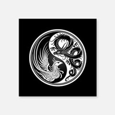Dragon Phoenix Yin Yang White and Black Sticker
