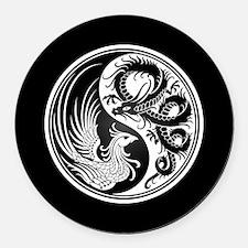Dragon Phoenix Yin Yang White and Black Round Car