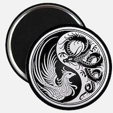 Dragon Phoenix Yin Yang White and Black Magnets