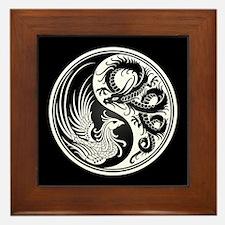 Dragon Phoenix Yin Yang White and Black Framed Til