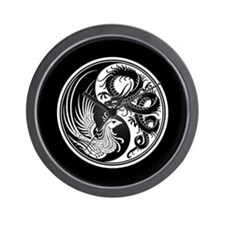 Dragon Phoenix Yin Yang White and Black Wall Clock