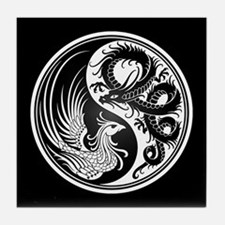 Dragon Phoenix Yin Yang White and Black Tile Coast