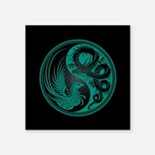 Dragon Phoenix Yin Yang Teal and Black Sticker