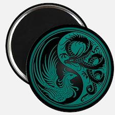 Dragon Phoenix Yin Yang Teal and Black Magnets