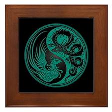 Dragon Phoenix Yin Yang Teal and Black Framed Tile
